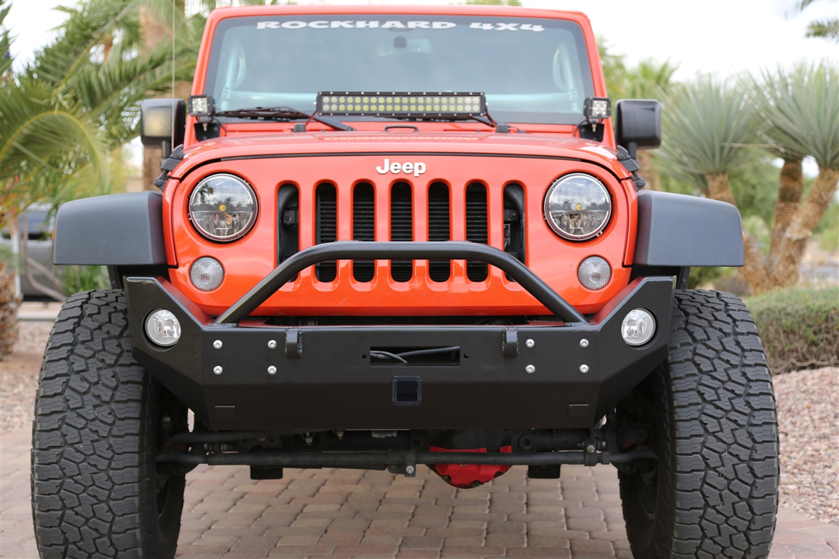 1999 Jeep Wrangler Sport >> Rock Hard 4x4™ Patriot Series Mid-Width Front Bumper w/ Receiver w/ Lowered Winch Plate for Jeep ...