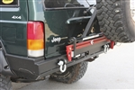 Rock Hard 4x4™ Patriot Series Rear Bumper w/ Tire Carrier for Bushwacker™ Pocket Flares for Jeep Cherokee XJ 1984 - 2001 [RH-1013-B]