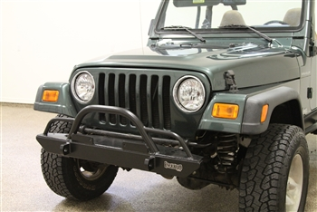 Rock Hard 4x4™ Narrow Width Legendary Front Bumper Straight Up Hoop w/ Tube Extensions for Jeep CJ, YJ, TJ, LJ 1976 - 2006 [RH-4005-CX46]