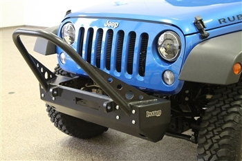 Rock Hard 4x4™ Patriot Series Grille Width Stinger Front Bumper w/ Lowered Winch Plate w/o Fog Lights for Jeep Wrangler JK 2007 - 2018 [RH-5008]