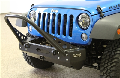 Rock Hard 4x4™ Patriot Series Grille Width Stinger Front Bumper w/ Receiver w/ Lowered Winch Plate w/o Fog Lights for Jeep Wrangler JK 2007 - 2018 [RH-5021]