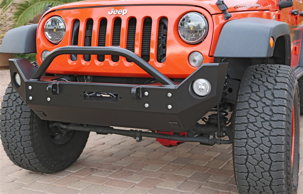 Rock Hard 4x4™ Patriot Series Mid-Width Front Bumper w/ Lowered Winch Plate for Jeep Wrangler JK 2007 - 2018 [RH-5022]
