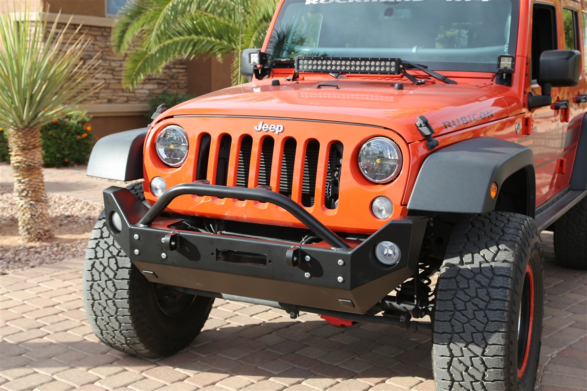 Rock Hard 4x48482 Patriot Series Mid Width Front Bumper W Jeep Wrangler Jk Bumpers Lowered Winch Plate For 2007 2018 Rh 5022