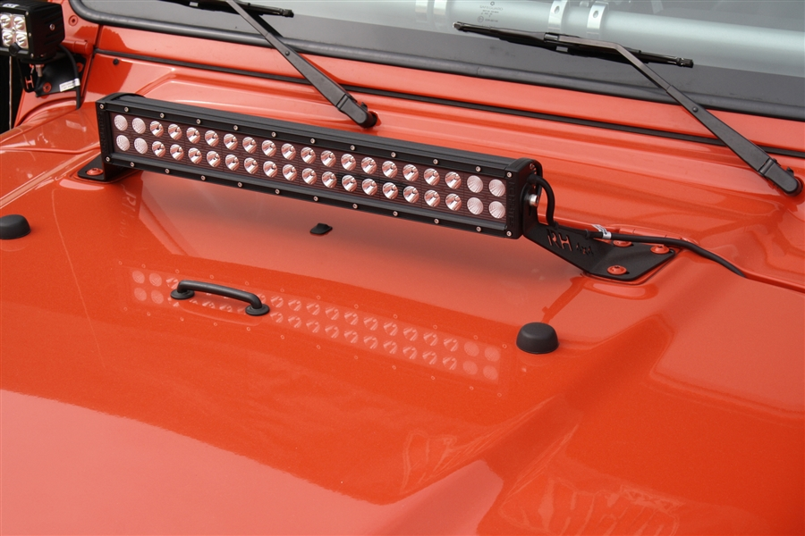 rock hard 4x4 20 led light bar hood mount for jeep. Black Bedroom Furniture Sets. Home Design Ideas