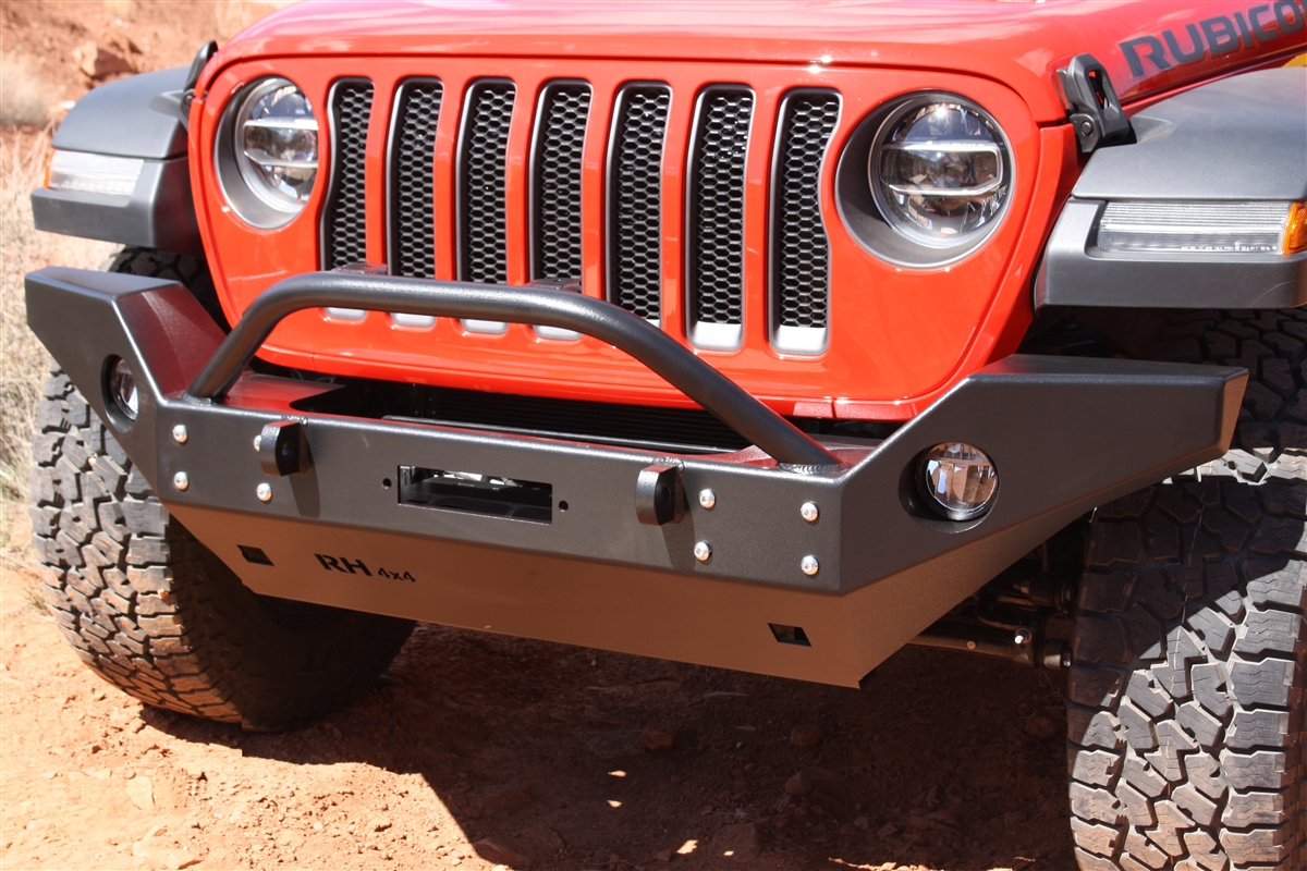 Rock Hard 4x4™ Aluminum Patriot Series Full Width Front Bumper w/ Lowered Winch Plate for Jeep Wrangler JL and Gladiator JT 2018 - Current [RH-90245]