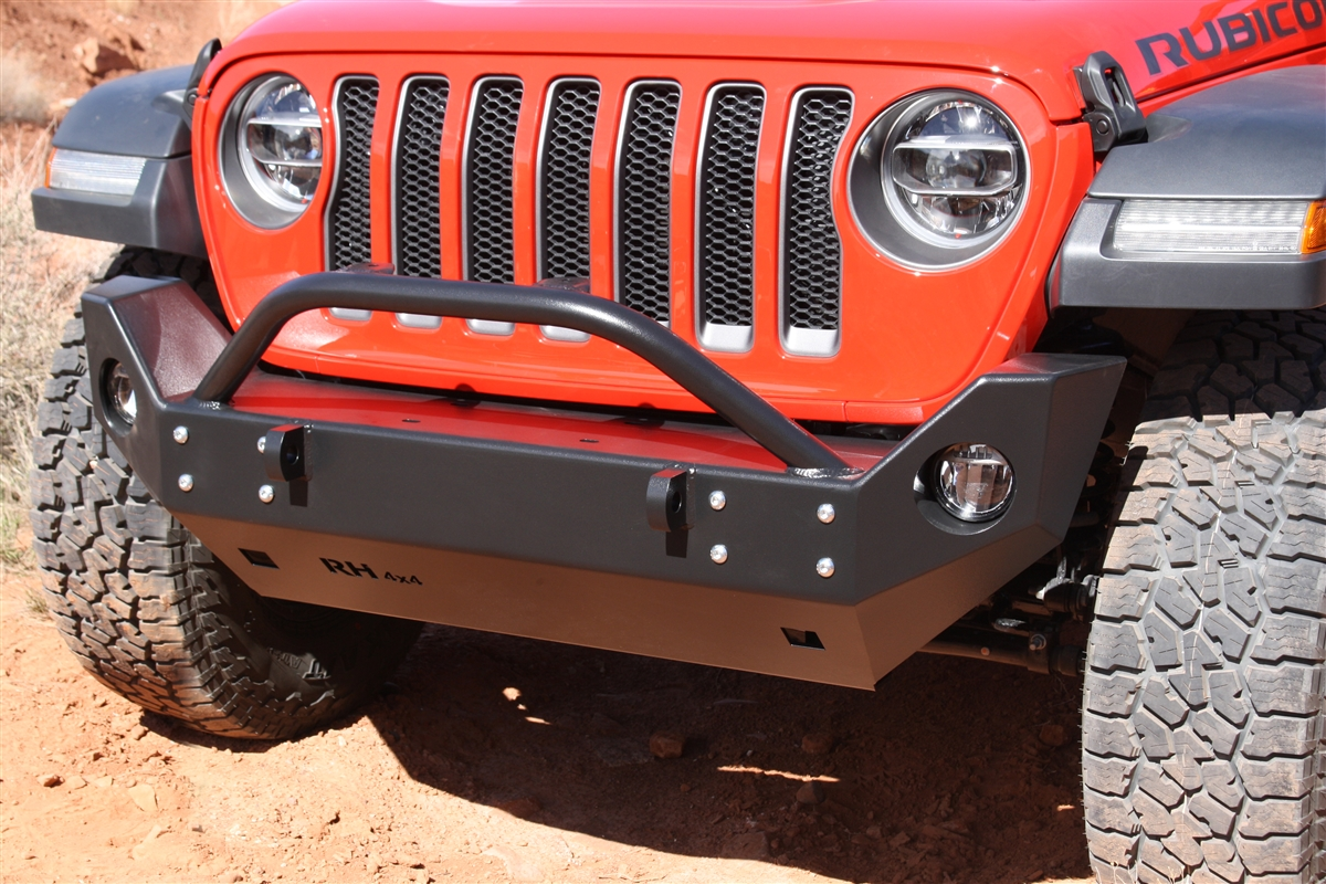 Rock Hard 4x4™ Aluminum Patriot Series Mid-Width Front Bumper for Jeep Wrangler JL and Gladiator JT 2018 - Current [RH-90249]