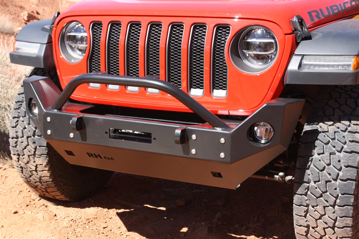Rock Hard 4x4™ Aluminum Patriot Series Mid-Width Front Bumper w/ Lowered Winch Plate for Jeep Wrangler JL and Gladiator JT 2018 - Current [RH-90248]