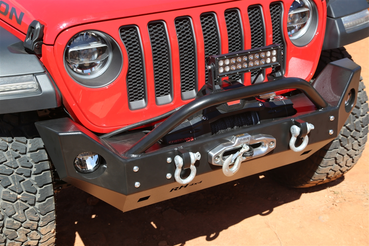 rock hard  aluminum patriot series mid width front bumper  lowered winch plate  jeep