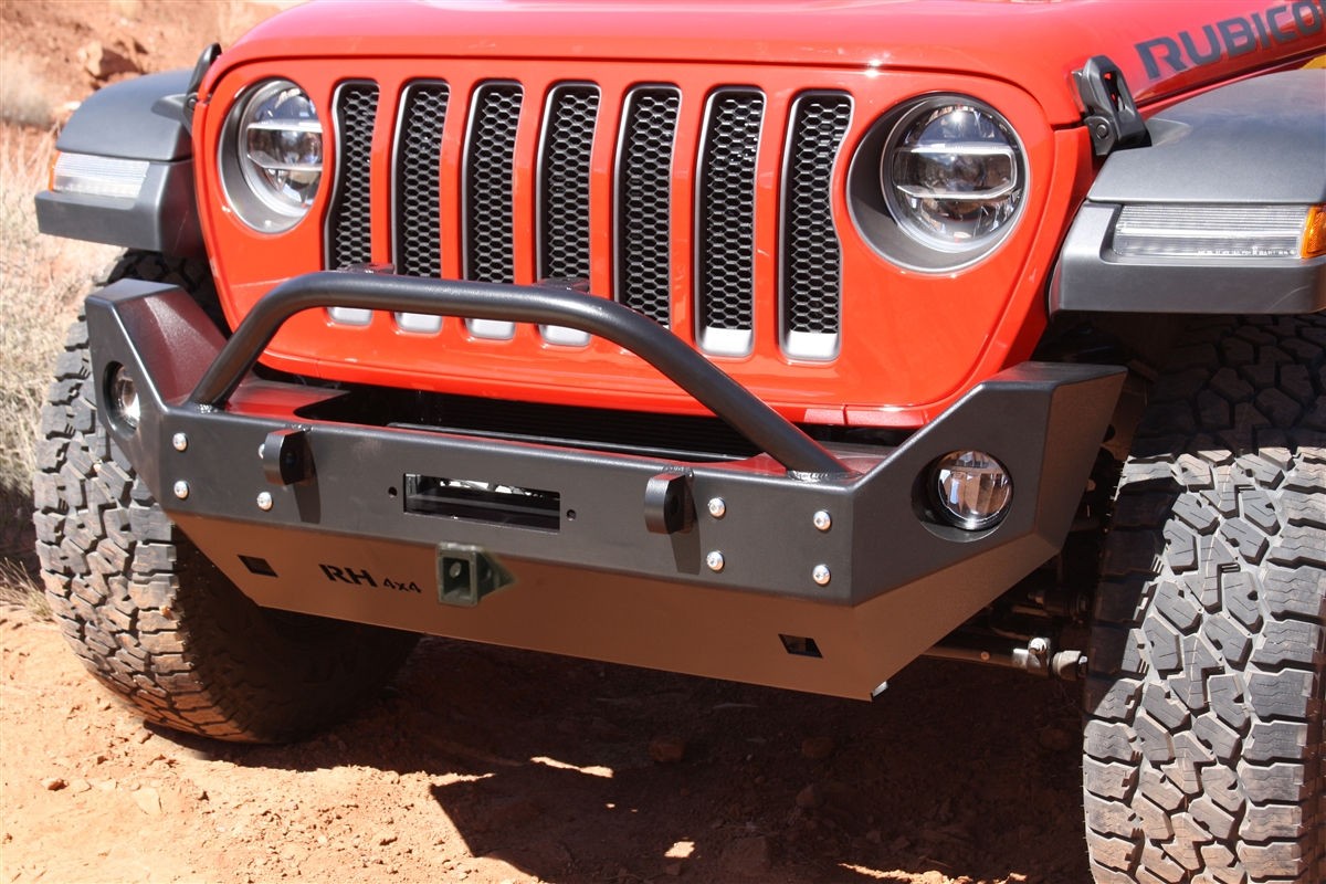Rock Hard 4x4™ Patriot Series Mid-Width Front Bumper w/ Receiver w/ Lowered Winch Plate for Jeep Wrangler JL and Gladiator JT 2018 - Current [RH-90217]